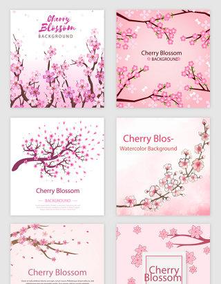 粉红桃花花瓣花朵的矢量素材