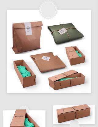 服装品牌衣服包装盒智能贴图样机素材