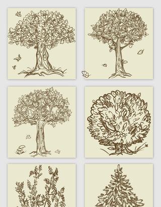 手绘线描风格大树矢量元素