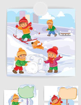彩色插画小朋友滑雪矢量图形