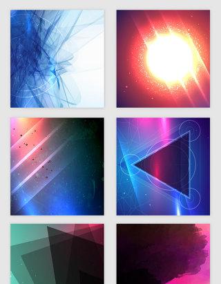 多彩几何梦幻线条光效矢量素材
