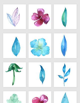 水彩手绘花朵鲜花花卉png矢量素材