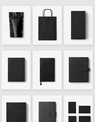 黑色产品包装设计空白模板样机素材