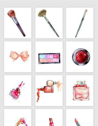 手绘水彩水墨化妆品素材