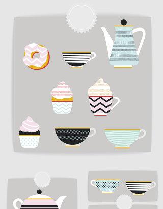 矢量扁平卡通下午茶甜品