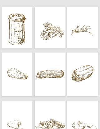 手绘蔬菜素材矢量元素