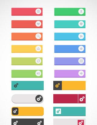 彩色网页按钮时尚图标素材