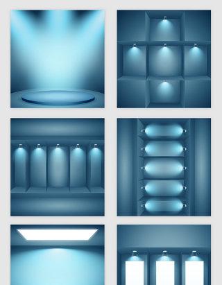 浅蓝的空房子灯光模型矢量素材