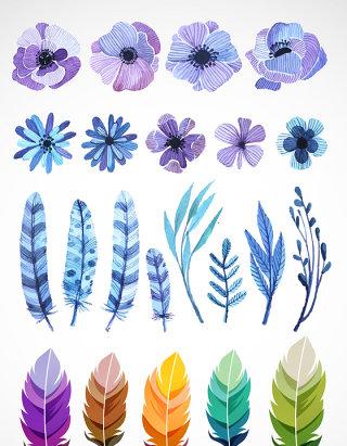 羽毛蓝色花朵矢量图标图形