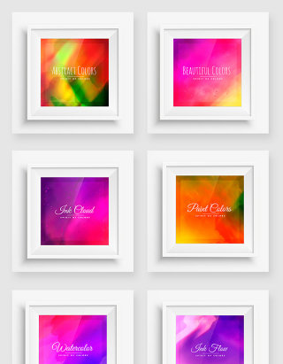 渐变彩色创意墙画相框矢量素材