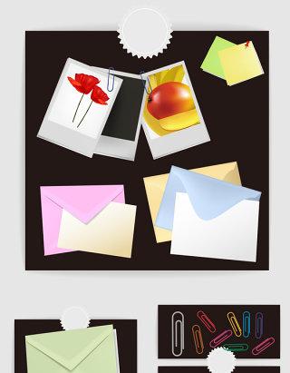 彩色信封壳子回形针照片纸矢量图形
