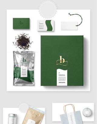 茶业品牌VI包装设计贴图样机素材
