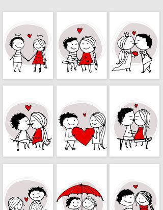 手绘风格卡通情侣矢量元素