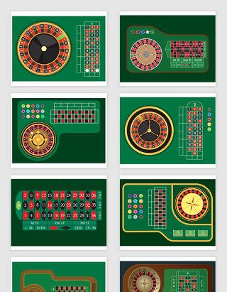 矢量轮盘赌博桌元素