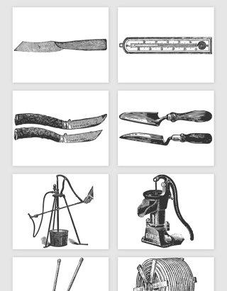 手绘农场农具相关矢量素材