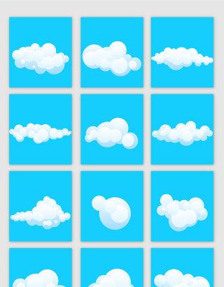 卡通风格白云云朵矢量素材