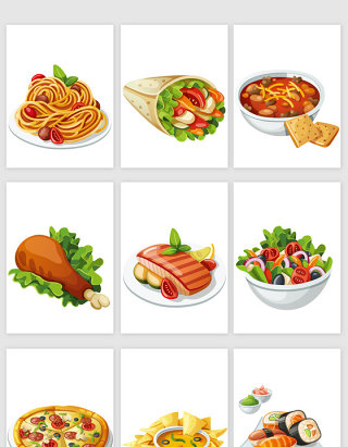 卡通餐饮行业美食食物矢量元素