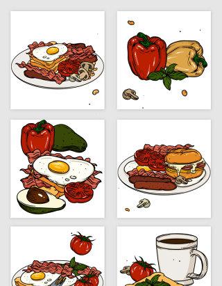 手绘风格美食食物矢量素材