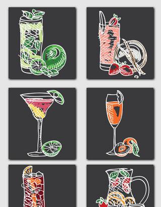 手绘风格饮品饮料果汁矢量元素