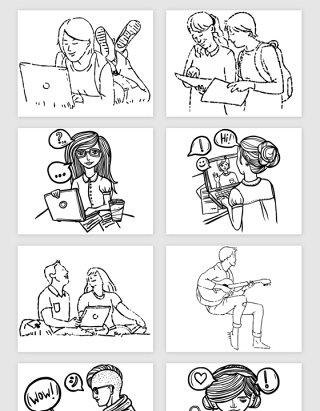 线描动漫可爱人物矢量素材