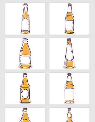 手绘啤酒的瓶子矢量素材