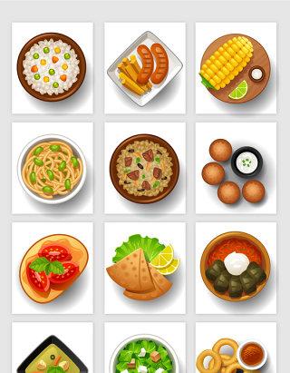 餐饮行业手绘卡通风格美食矢量素材