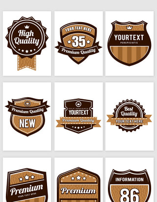 棕色咖啡色品质徽章标签矢量素材