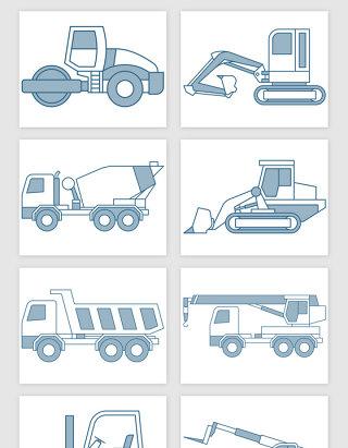手绘工程运输车矢量素材