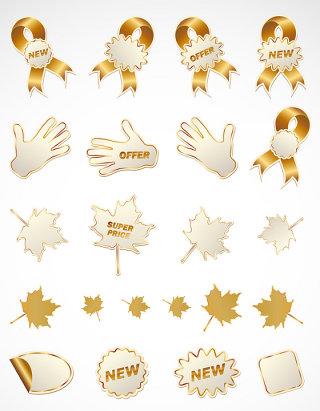 商品促销金色标贴矢量图形