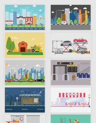 10款矢量城市风景建筑插图