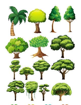 大树写意树木矢量素材