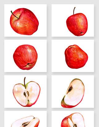 手绘红色苹果矢量素材
