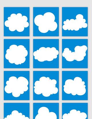 卡通风格白云矢量元素