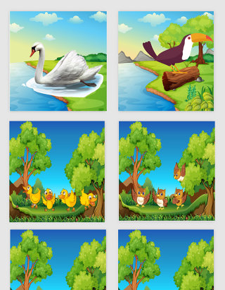 卡通动物风景插画