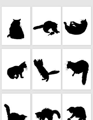猫动作状态黑色剪影矢量素材