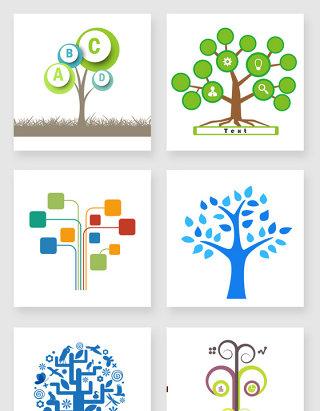 不规则图形树状图设计元素