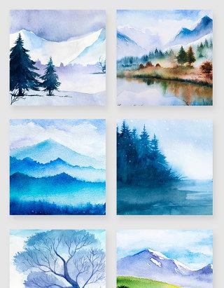 水彩秋冬山水风景插画矢量素材