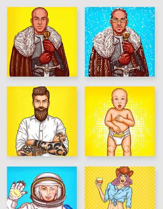 欧美时尚波普风手绘人物插画素材