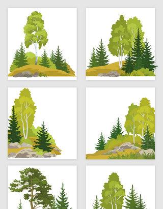 山林大树石头组合矢量元素