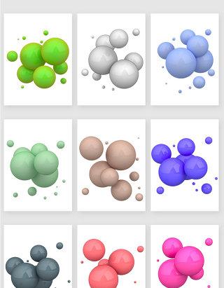 3D不透明球体多色彩材质设计素材