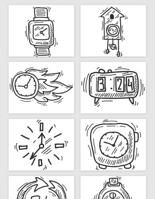 手绘手表时间矢量素材