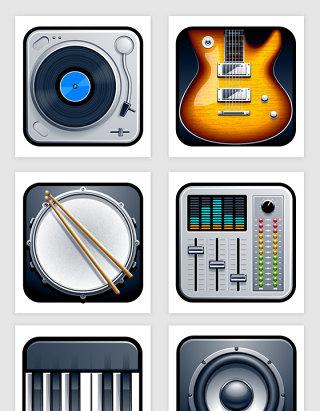 音乐乐器音响制品图标矢量素材