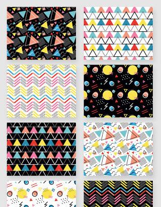 彩色几何不规则图形底纹矢量素材