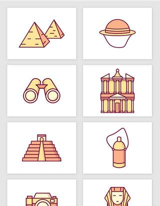 埃及特色建筑旅游景点彩色插画矢量图形