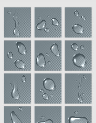 透明水珠矢量元素