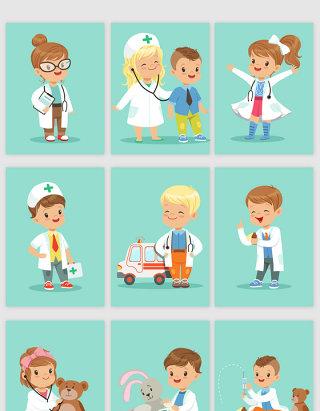 儿童医生医院卡通矢量图形