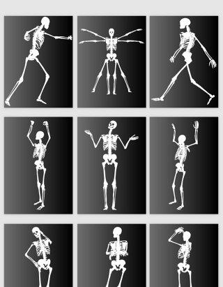 创意X光人体骨骼舞蹈动作矢量素材