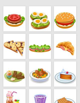 餐饮行业卡通风格美食矢量元素