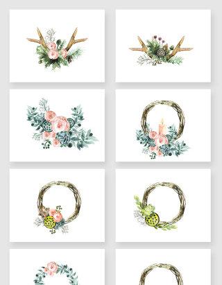 高清免抠水彩彩绘植物花卉花环