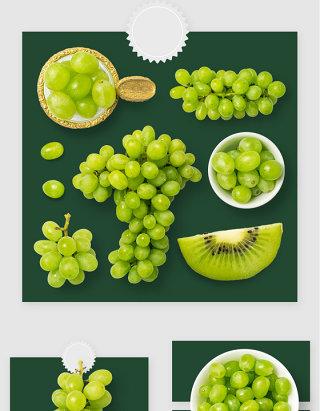 新鲜白葡萄水果高清PSD素材